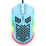 Wired Lightweight Gaming Mouse,6 RGB Backlit Mouse with 7 Buttons Programmable Driver,6400DPI Computer Mouse,Ultralight Honeycomb Shell Ultraweave Cable Mouse for PC Gamers,Xbox,PS4(Blue)