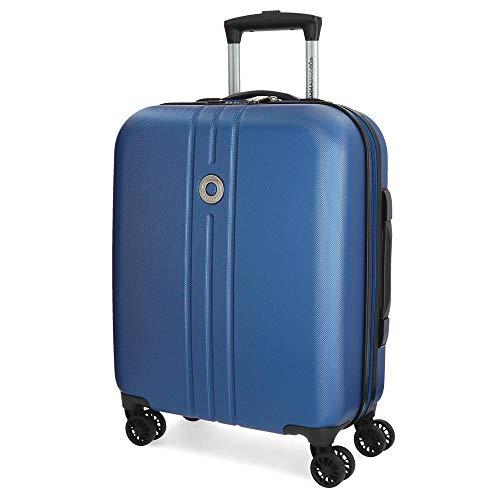 Movom Riga Maleta de cabina Azul 40x55x20 cms Rígida ABS Cierre TSA 36L 3Kgs 4 Ruedas Dobles Equipaje de Mano