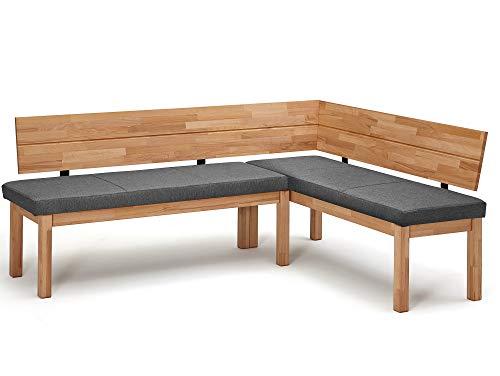 moebel-eins Renaldo Eckbank, Material Massivholz, Kernbuche geölt, rechts, Stoff grau