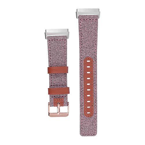 ibasenice Correa de Reloj de Cuero de Lona Pulsera de Reemplazo Correa de Reloj de Liberación Rápida Pulsera Compatible con Fitbitversa3 Rosa
