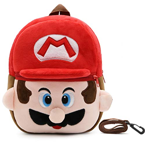 Mario Rucksack Kinder - YUESEN 3D-Kinder-Rucksack mit Mario Rote Kindergartenrucksack, Cartoon Super Mario-Rucksäcke Schultasche Rote Mario Geschenke für Kinder Ideal für Schule Reisen