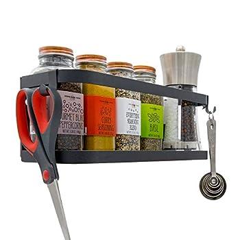 Darvish & Saints Magnetic Fridge Spice Rack Organizer [1-Tier with 2x Utility Hooks] - Mounted Jar Container Storage Utensil Holder Kitchen Rack Shelf Pantry Wall Laundry Room Garage [Black]