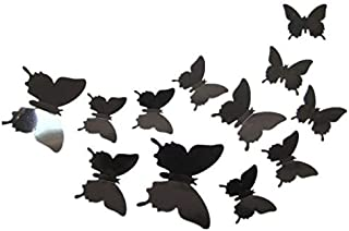 12pcs 3D black Butterfly Sticker Decal Magnet Wall Stickers Art Design Home Decoration,DO074