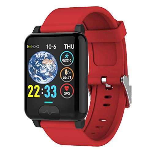 Wsaman Sueño Podómetro Smartwatch Cardíaco Monitor de Actividad Impermeable IP68, Pulsera Actividad Deportivos Fitness Tracker con 1.3 Inch Pantalla Táctil para Hombre Mujer,Rojo