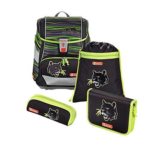"""Step by Step Schulranzen-Set 2IN1 """"Wild Cat"""" 4-teilig, grün-schwarz, Panther-Design, ergonomischer Tornister mit Reflektoren, höhenverstellbar mit Hüftgurt für Jungen 1. Klasse, 19L"""