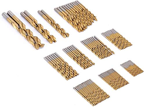 99 pcs/set 1.5mm-10mm Titanium Coated Metal HSS High Speed Steel Drill Bit Set Tool for Aluminum Copper Steel and Wood Plastic