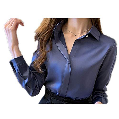 N\P Seiden-Hemden für Damen, weißes Hemd, langärmelig, Bluse für Büro, Satin, Seide, Bluse, Tops, Übergröße, Damen-Basic-Hemd Gr. Large, blau