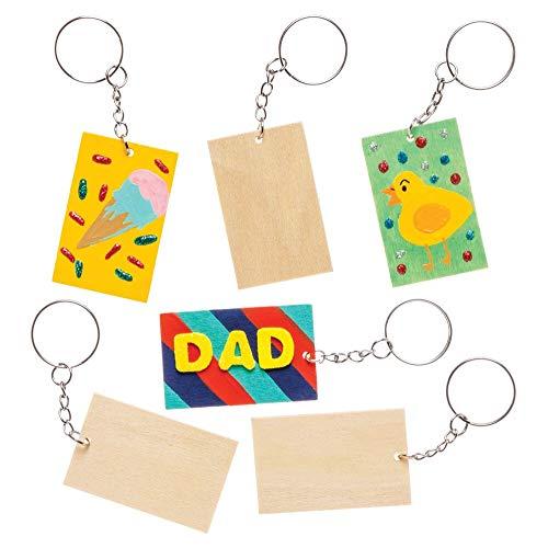 Baker Ross Kit de llaveros hechos de madera rectangulares para diseñar (Pack de 4) - Actividad de manualidades infantiles para decorar y colgar en llaveros y bolsas