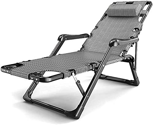 CHLDDHC Sillas Zero Gravity Silla de Jardín Extragrande Zero Gravity, Patio Reclinable Tumbona Playa Camping,Grey-52CM