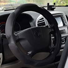 922074 Black Soft Suede Memory Foam with PU Leather Car Steering Wheel Cover for Medium Size SWC Dia 14.5