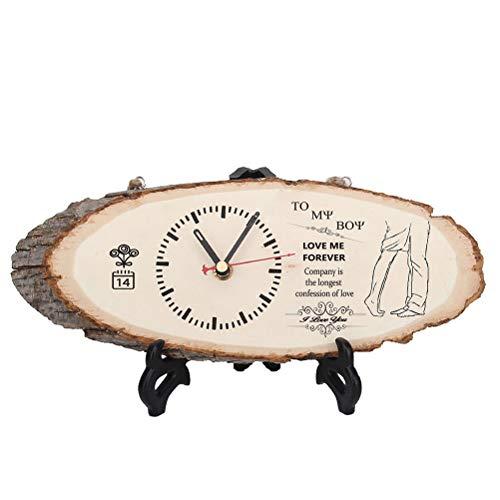 AYily Reloj de mesa de madera para el día de San Valentín, silencioso, hecho a mano, para colgar el reloj de registro de bricolaje, adornos, cumpleaños, Navidad, Año Nuevo, regalo