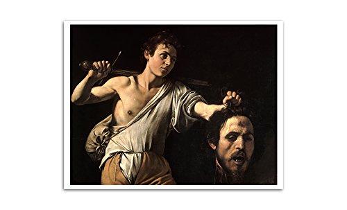 ArtsyCanvas David with The Head of Goliath - Michelangelo Merisi da Caravaggio - Most Expensive Paintings - 24x19 Matte Poster Print Wall Art