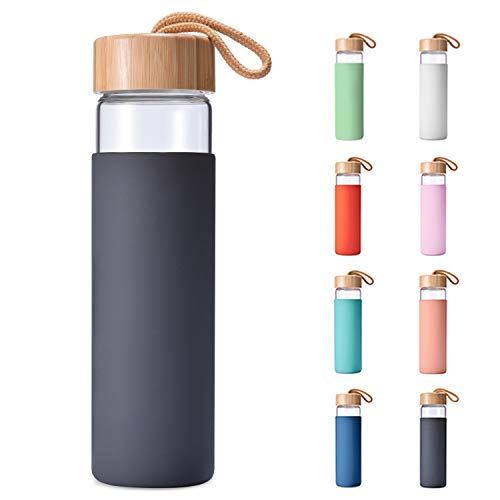 Yomious Borosilicate Glass Water Bottle with Bamboo Lid and Silicone Sleeve - 20 oz – BPA Free – Eco Friendly and Reusable – Leak Proof Design – Carry Strap Built Into Lid (Charcoal Grey)