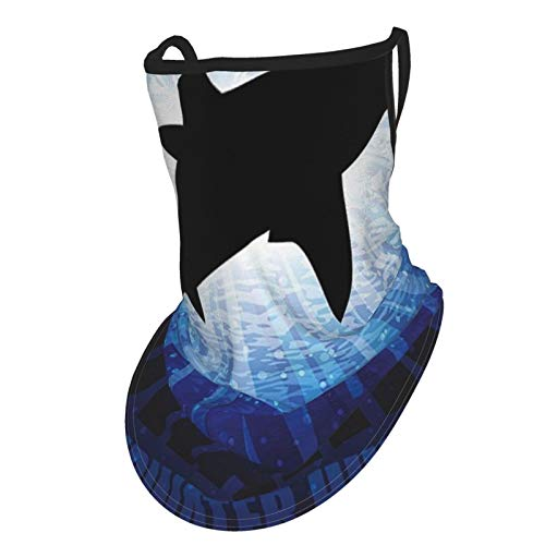 Shark Underwater Hunter Phrase Fish Silhouette In The Ocean Danger In Marine Picture Royal Blue Blackear Hangers Uv Protection Neck Gaiter Scarf, Outdoor Headband For Fishing Cycling Hiking