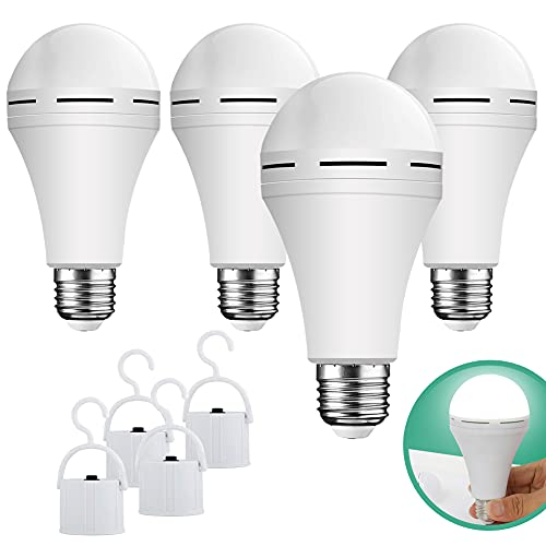 Emergency Rechargeable Led Light Bulb with Hook,Stay Lights Up When Power Failure, 1200mAh 12W 60W Equivalent LED Light Bulbs for Home, Camping, Hiking, 4 Pack
