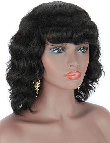 Beauart 100% Remy Human Hair Wig with Hair Bangs 130% Density Body Wave Human Hair Wigs for Women 12 inch Short Black Curly Hair Wigs with 2 Free Wigs Caps