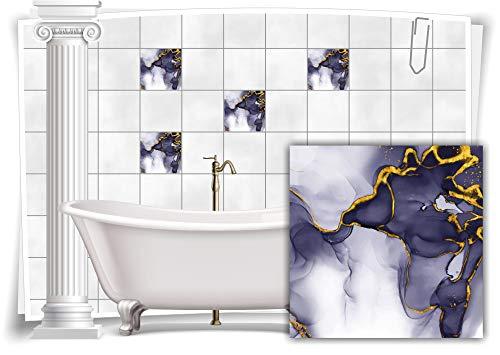 Medianlux Adhesivo decorativo para azulejos, diseño de mármol, óleo, pintura abstracta para baño, color dorado y gris, 4 unidades, 20 x 20 cm m23m12q-136906