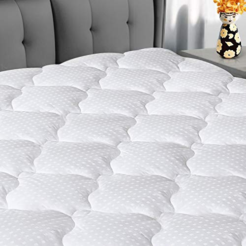 "COOSLEEP HOME King Mattress Pad Cotton Top Soft Pillow Top Mattress Cover 8-21"" Deep Pocket Cooling Fitted Mattress Topper Hypoallergenic Mattress Protector White"