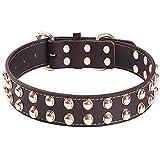 Collar de Perro de Cuero Genuino con Tachuelas Collares Ajustables Para Mascotas Lo Mejor Para Perros de Razas Pequeñas, Medianas, Grandes y Extra Grandes (Marrón) (M)