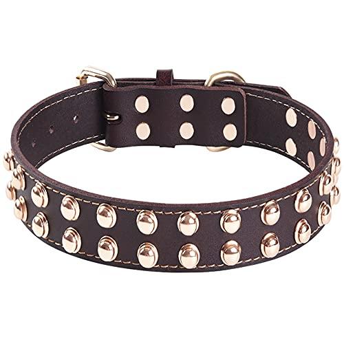 Collar de Perro de Cuero Genuino con Tachuelas Collares Ajustables Para Mascotas Lo Mejor Para Perros de Razas Peque├▒as, Medianas, Grandes y Extra Grandes я╝ИMarr├│nя╝Й (M)