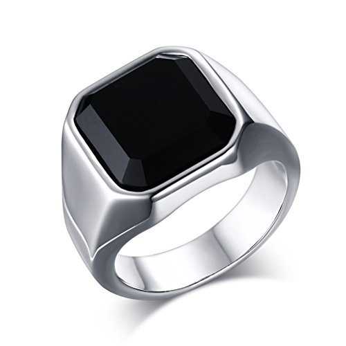 Vnox Mode Edelstahl schwarz Achat Ring für Männer Frauen Hochzeit Engagement Versprechen
