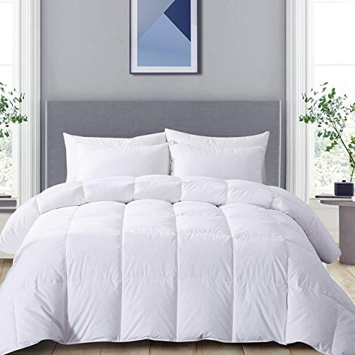 Yalamila Goose Duck Feather Down Comforter - 100% Cotton Cover, All Season Cotton Fluffy Down Duvet Insert with White Duck Down Feather Filling, Bedding Lightweight Comforter 90x90 Queen Size