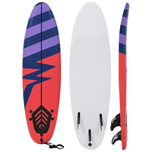 Festnight Tabla de Surf para los Adultos y Niños, con 1 Correa y 3 Aletas Extraíbles de Plástico Diseño de Rayas 170 x 46,8 x 8 cm