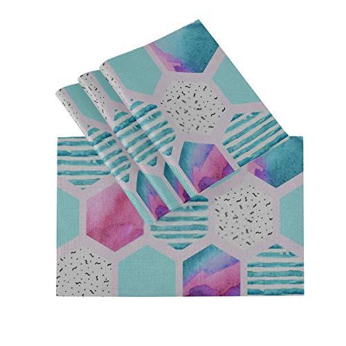 DUKAI Tischsets 4er-Set, wärmeisolierende waschbare Tischsets, Aquarell-Sechseck-nahtloses Muster Geometrische Verzierung 18 x 12 Zoll Küchentischmatten Tischset für Esstisch