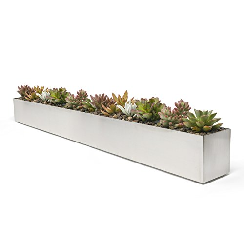 Buhbo Modern Trough Rectangle Planter 32 inch, Brushed Stainless Steel