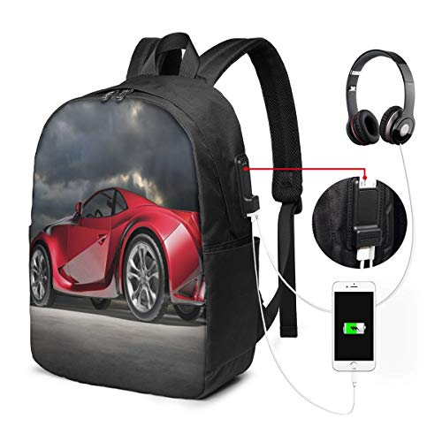 Modern Red Sports Car On Dramatic Sky Backdrop with Dark Cloudscape Strong Engine Laptop Backpack Business Travel Backpack with USB Charging Port & Headphone Interface for College Student