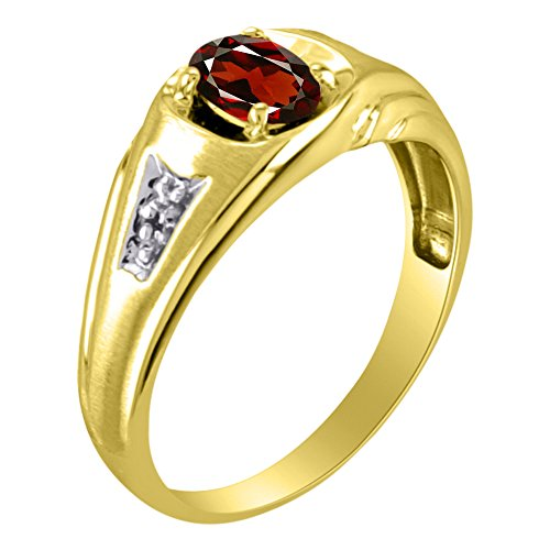 Plata o Chapado en oro amarillo de plata esterlina Anillo Piedra Natal granate & Diamante Anillo