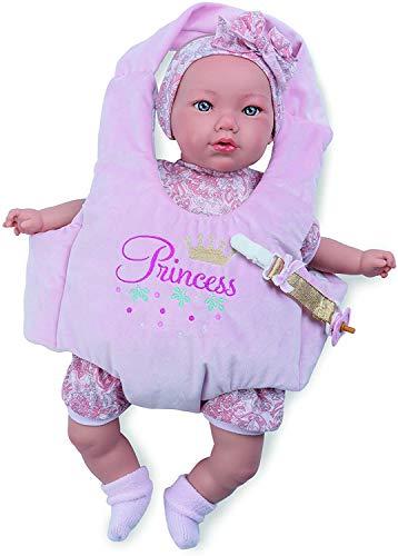 Marina&Pau Muñeca Bebé Llora para Niñas y Niños 40 centímetros con Porta Bebe Alina