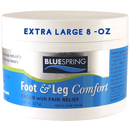 BlueSpring Pain Relief Cream - 8 oz Foot & Leg Comfort Cream Promotes Healthy Circulation to Soothe Lower Body Pain - Arnica, Emu Oil, Aloe Vera, Menthol, 9 Natural Herbs - Relief Massage Cream