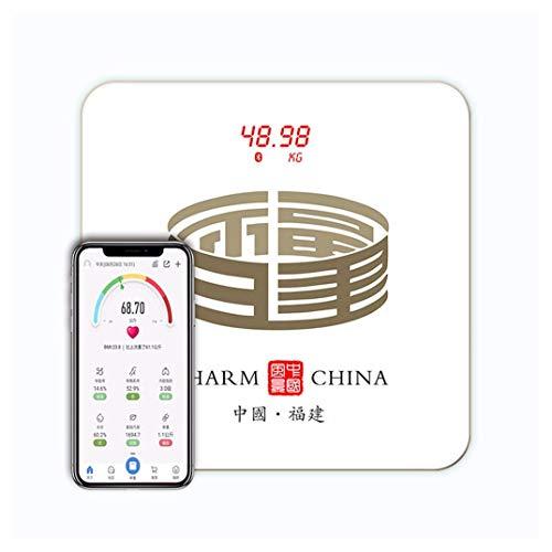 XLDYSC Body Fat Scale Bmi Daten Bluetooth One-Button Anschluss USB-Ladeanzeige Elektronische Waage Stadt Element Style Led