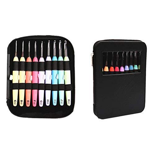 SYWAN LED Häkelnadel Set Beleuchtete Stricknadeln Multicolor Ergonomischen Griffen 2.5mm-6.5mm mit Reißverschluss Lagerung Paket