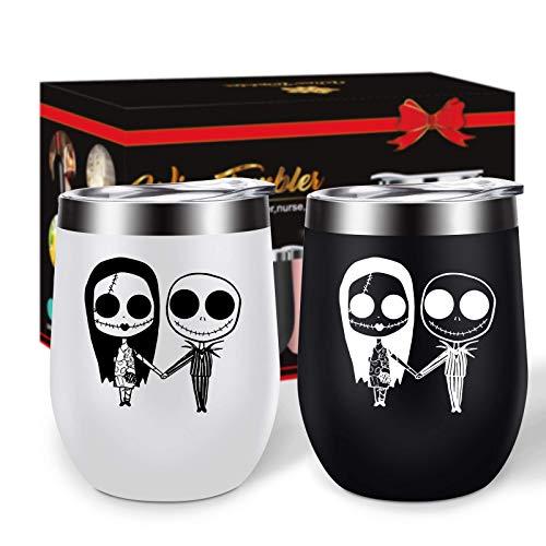 The Nightmare Before Christmas - Vaso de vino de acero inoxidable sin tallo, doble pared, aislado al vacío, con tapas, regalo para pareja (negro+blanco n.º 2)