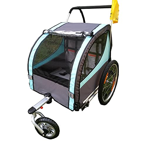 DUTUI Childrens Two Seater Outdoor Bicycle Trailer Large Space Mountain Bike for Outing Riding Foldable And Comfortable Seat