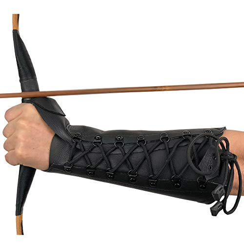 longbowmaker Black Archery Arm Guard Adjustable Cow Leather Antique Bracer 12.2 Inches