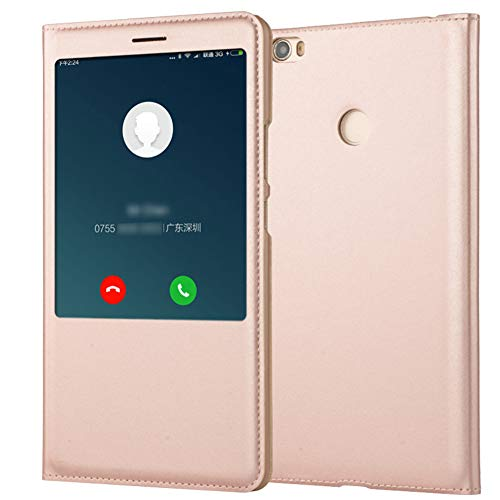 "Funda para Xiaomi Mi MAX Carcasa Cuero PU Tapa Flip + Interior TPU Silicona Ultra Slim Case Protección Inteligente Tel para Mi MAX 2 MAX 3 Caja (Oro Rosa, Mi MAX 2 6.44"")"