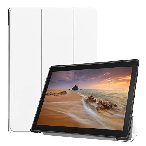 Lobwerk Hülle für Lenovo Tab E10 TB-X104F 10.1 Zoll Smart Cover Etui mit Standfunktion & Auto Sleep/Wake Funktion Weiß