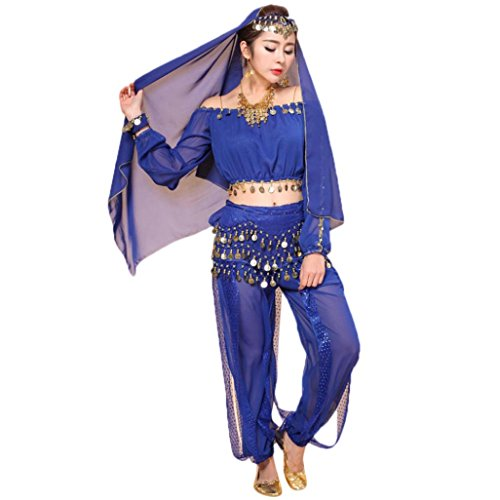 TUDUZ Damen Tanz Outfits Tanzkleidung Bauchtanz Kostüm Set, Indian Chiffon Dancing Kleid Kleidung Belly Dance Costumes Top + Pants Set (Blau, Freie Größe)