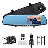 AUTOUTLET 4.3 '' HD 1080P Dual Lens DVR para Coche Mirror Dash CAM Recorder con 32G Tarjeta de Memoria