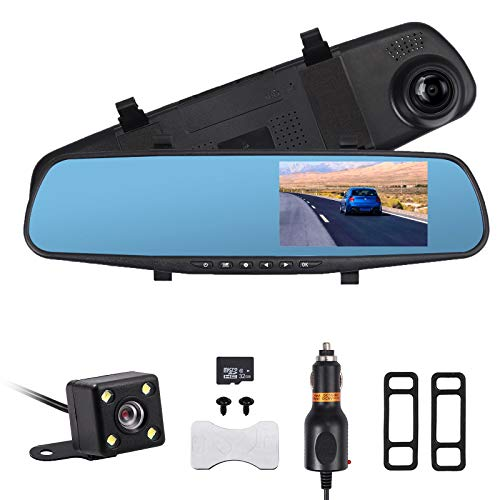 AUTOUTLET 4.3'' HD 1080P Dual Lens Car DVR Mirror Dash Cam Recorder 32G Memory C