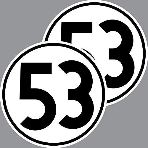 2 Aufkleber 15cm Startnummer 53 Sticker Auto Start Nummer Herbie VW Käfer Deko