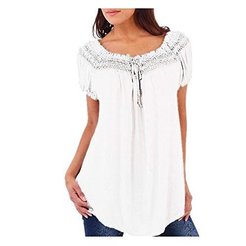 Blusas sueltas con cuello en V de encaje patchwork manga corta blusa señora camisas Top - blanco - Medium