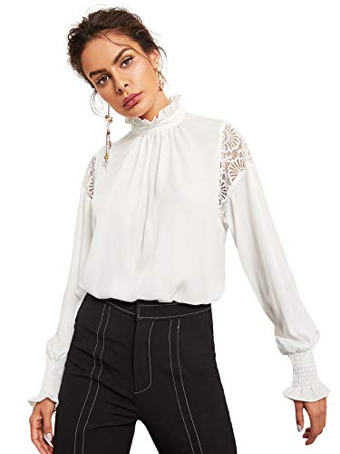 Floerns Women's Long Sleeve Stand Collar Lace Chiffon Blouse Top White L