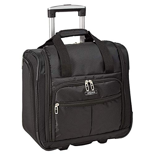 Dejuno Lightweight Wheeled 15-Inch Underseater Carry-on Luggage, Black