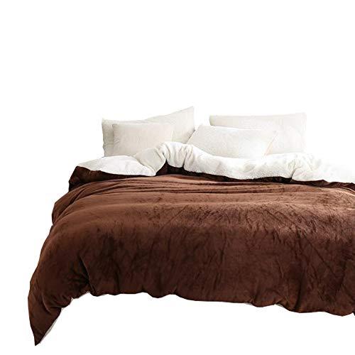 Zhiyuan Funda nórdica de franela y vellón bereber, cama de 150 cm, Café