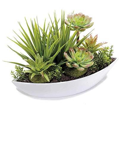 DEKO Sukkulentenmix in weißer Schale Kakteenschale 26 cm Kunststoffblumen Sukkulenten dekorative Kunstpflanzen