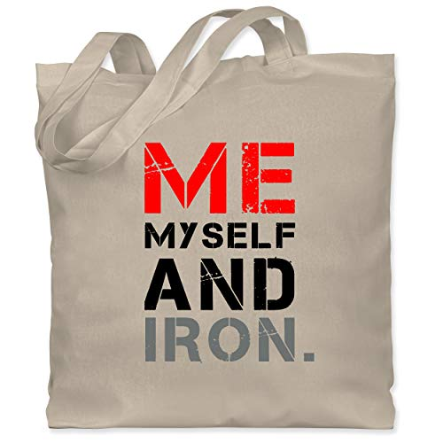 Shirtracer Fitness & Workout - Me, myself and iron. - Unisize - Naturweiß - Motto - WM101 - Stoffbeutel aus Baumwolle Jutebeutel lange Henkel